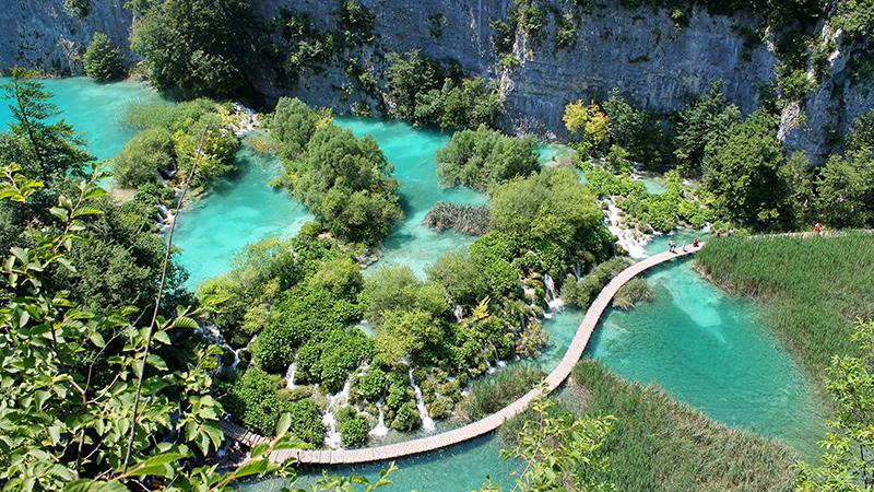 Jeziora Plitwickie w Chorwacji z lotu ptaka