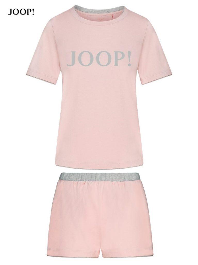 Różowa piżama damska, bluzka i szorty